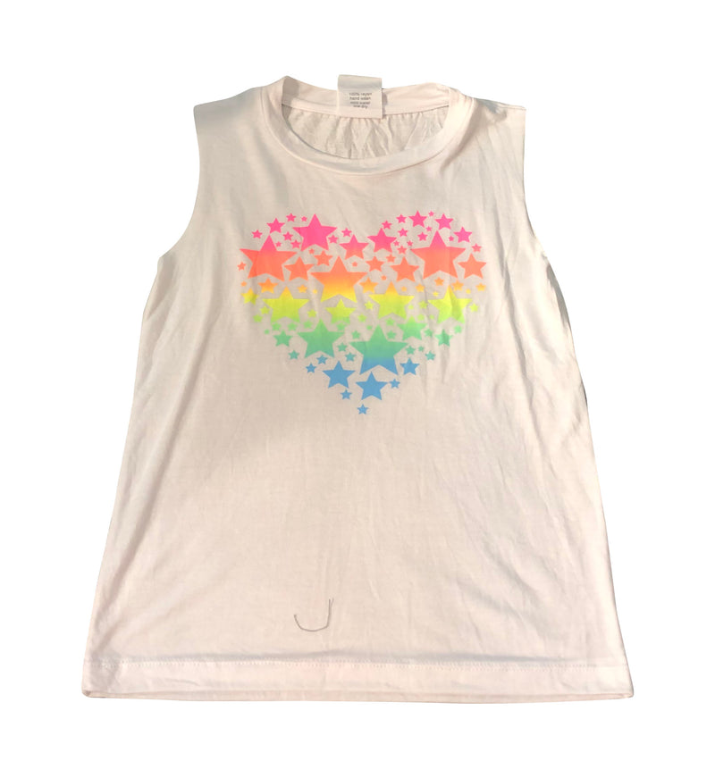 Flowers by Zoe Neon Rainbow Heart White Tank