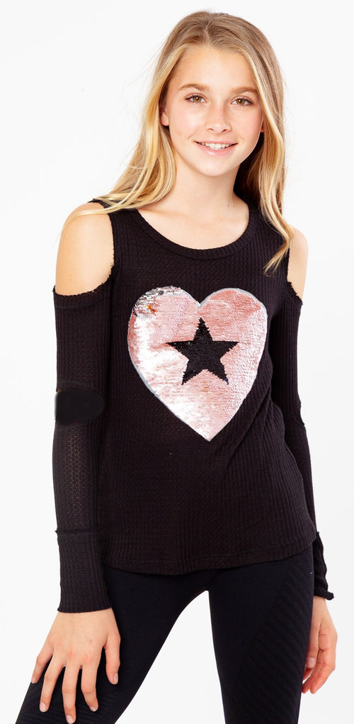 Malibu Sugar Black Long Sleeve Slashed Open Shoulder Reverse Sequin Heart - Size 14