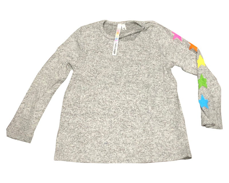 Malibu Sugar Grey Cut Out with Neon Stars Long Sleeve Shirt