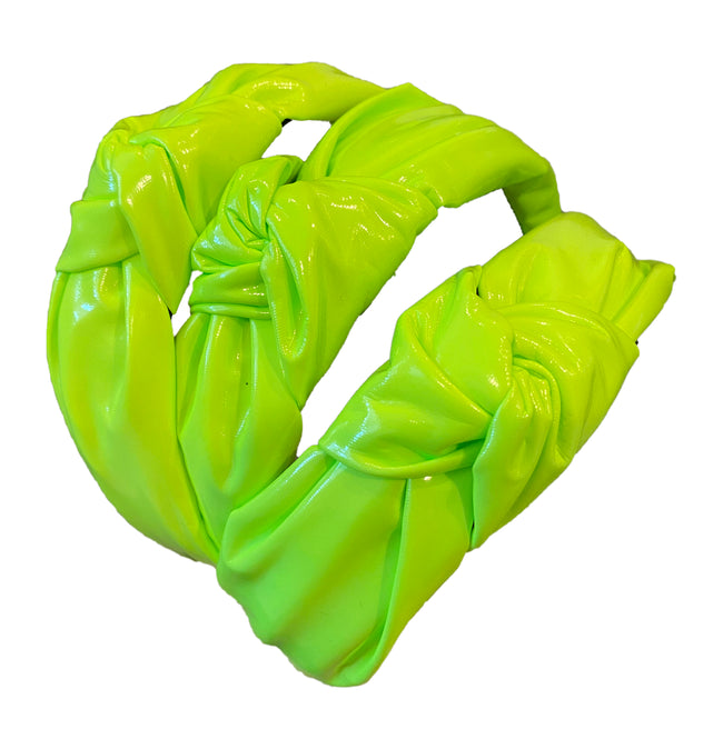 Top Trenz Neon Yellow Patent Leather Knot Headband