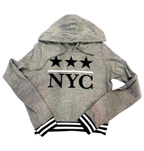 Malibu Sugar NYC with Stars Heather Grey Ribbed Band Hooded