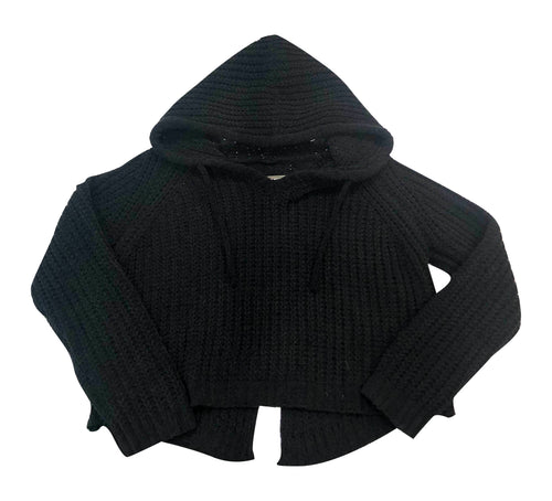 Malibu Sugar Black Hooded Cropped Sweater