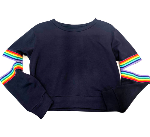 Malibu Sugar Navy Sweatshit with Rainbow Ribbon Elbows