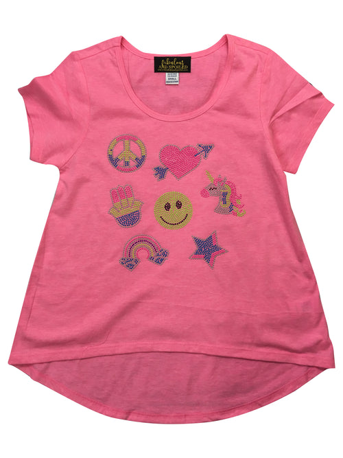 Neon Girl Patches Rhinestud Shirt