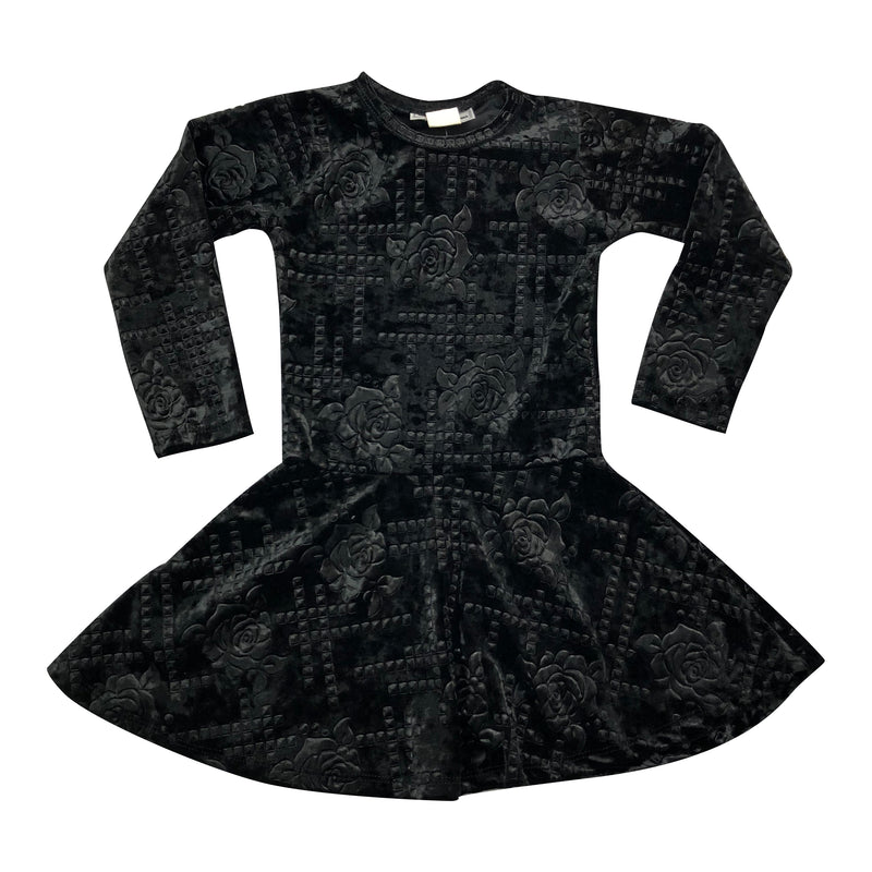 Dori Creations Embossed Velvet Roses Dress - Black - Size 6