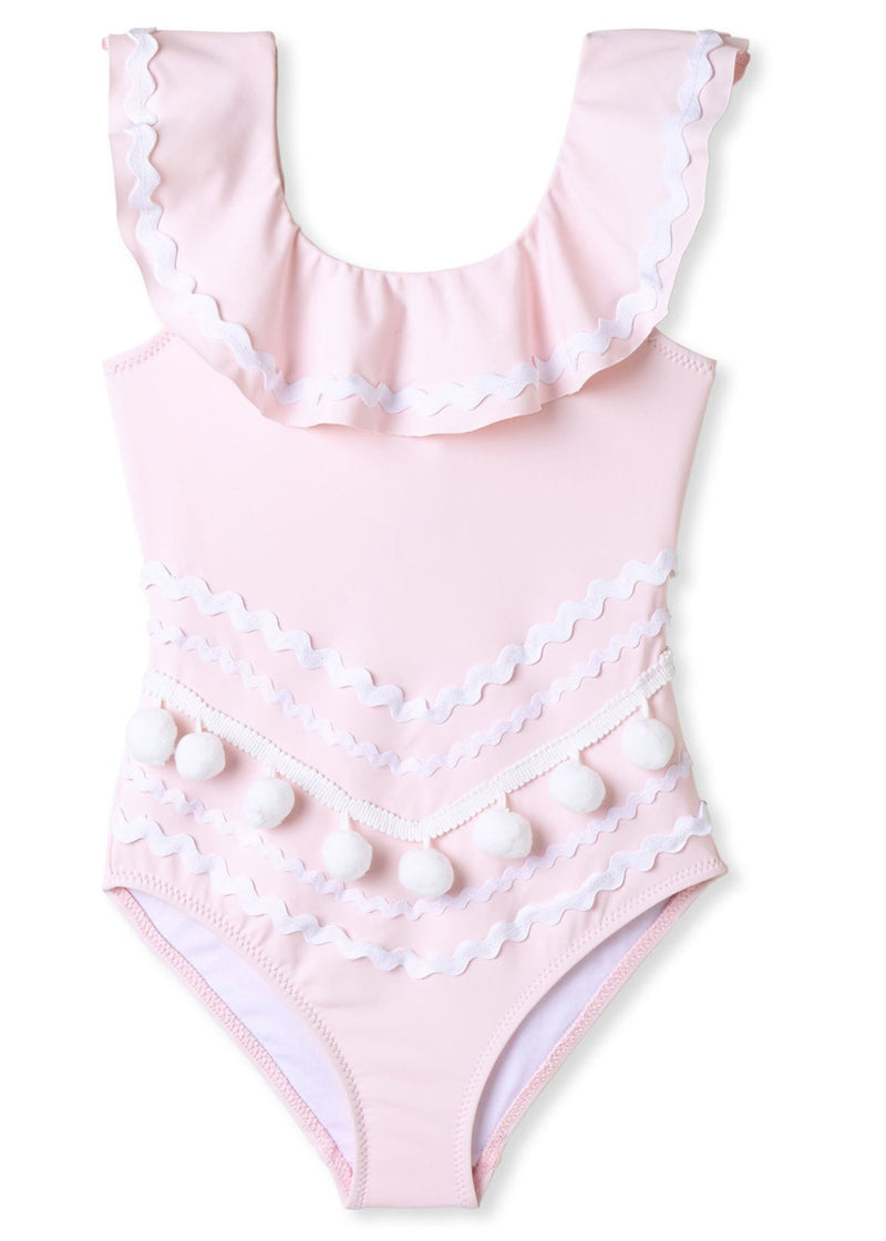 Perfect Pink with Pom Pom and Ric Rac Bathing Suit