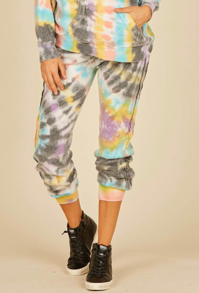 Ladies Vintage Havana Multi Swirl Tie Dye Reverse Burnout Fleece Joggers