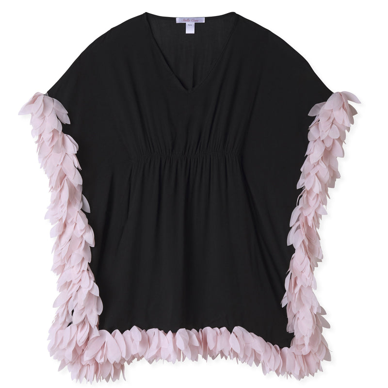 Cover - Up Poncho Black with Pink Petals
