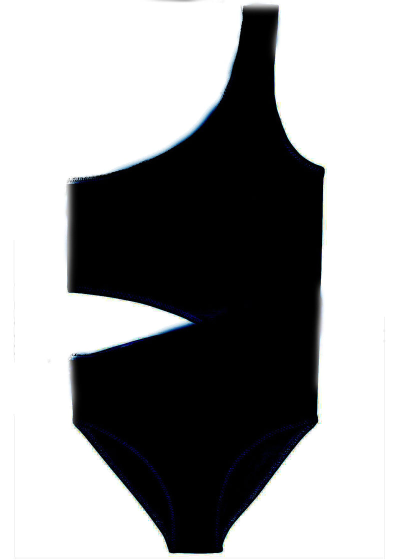 Black Side Cut Swimsuit for Girls