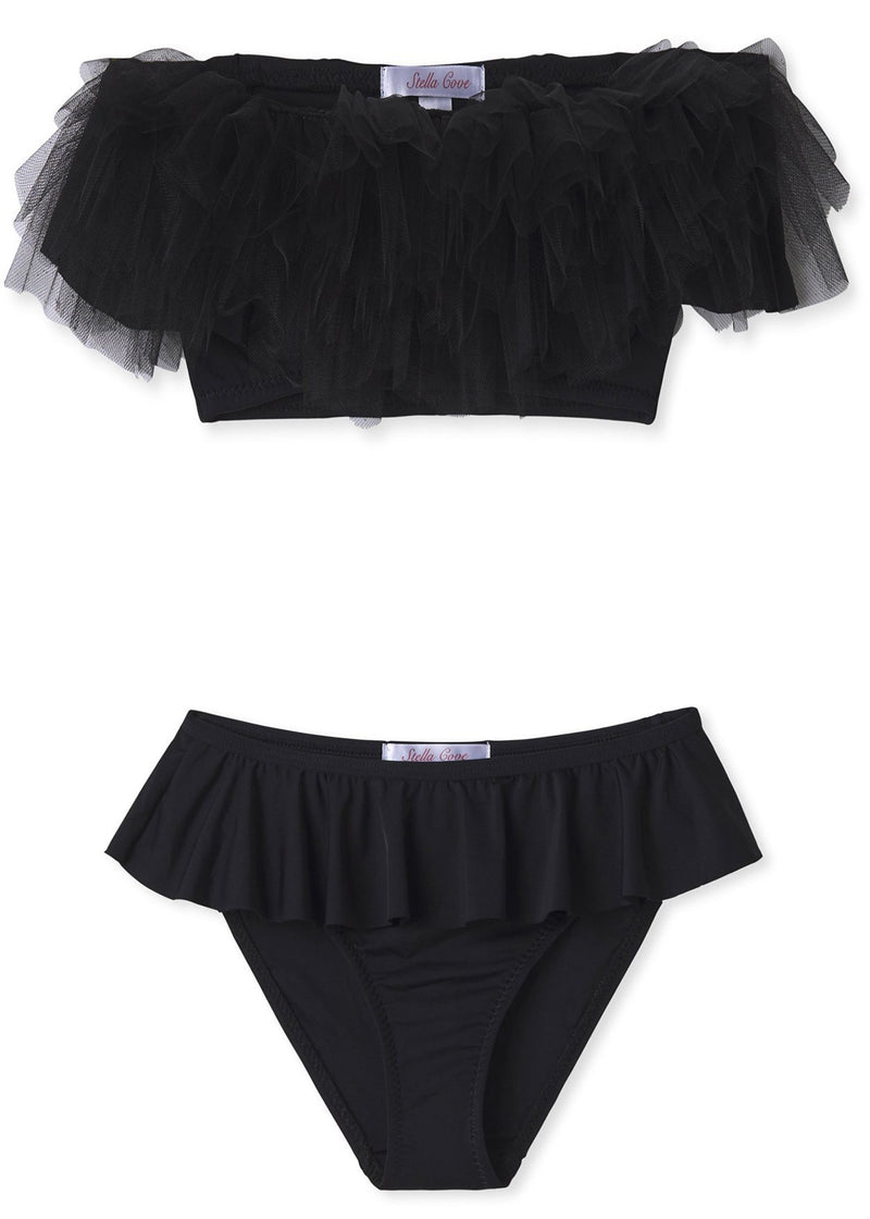 Black Draped Bikini With Tulle for Girls