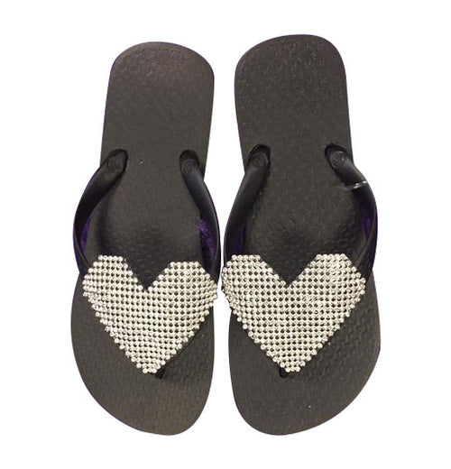 Planet Sea Rhinestone Heart Flip Flops - Black