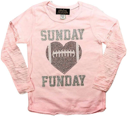 Sunday Funday Bling Football Heart Shirt
