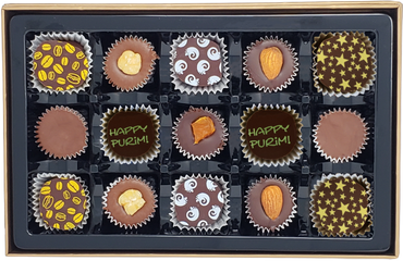 Purim 15 Piece Chocolate Truffles & Clusters Gift Box
