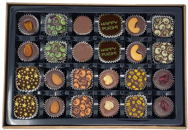 Purim 24 Piece Chocolate Truffles & Clusters Gift Box