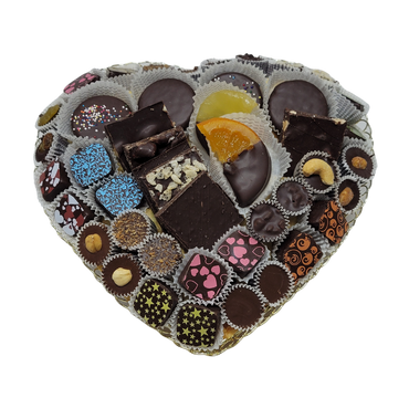 Red Heart Of Gold Chocolate Gift Basket