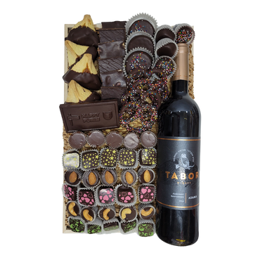 Pretzel, Bark, Oreo, Truffle and humantash Mishloach Manot with Bottle of wine