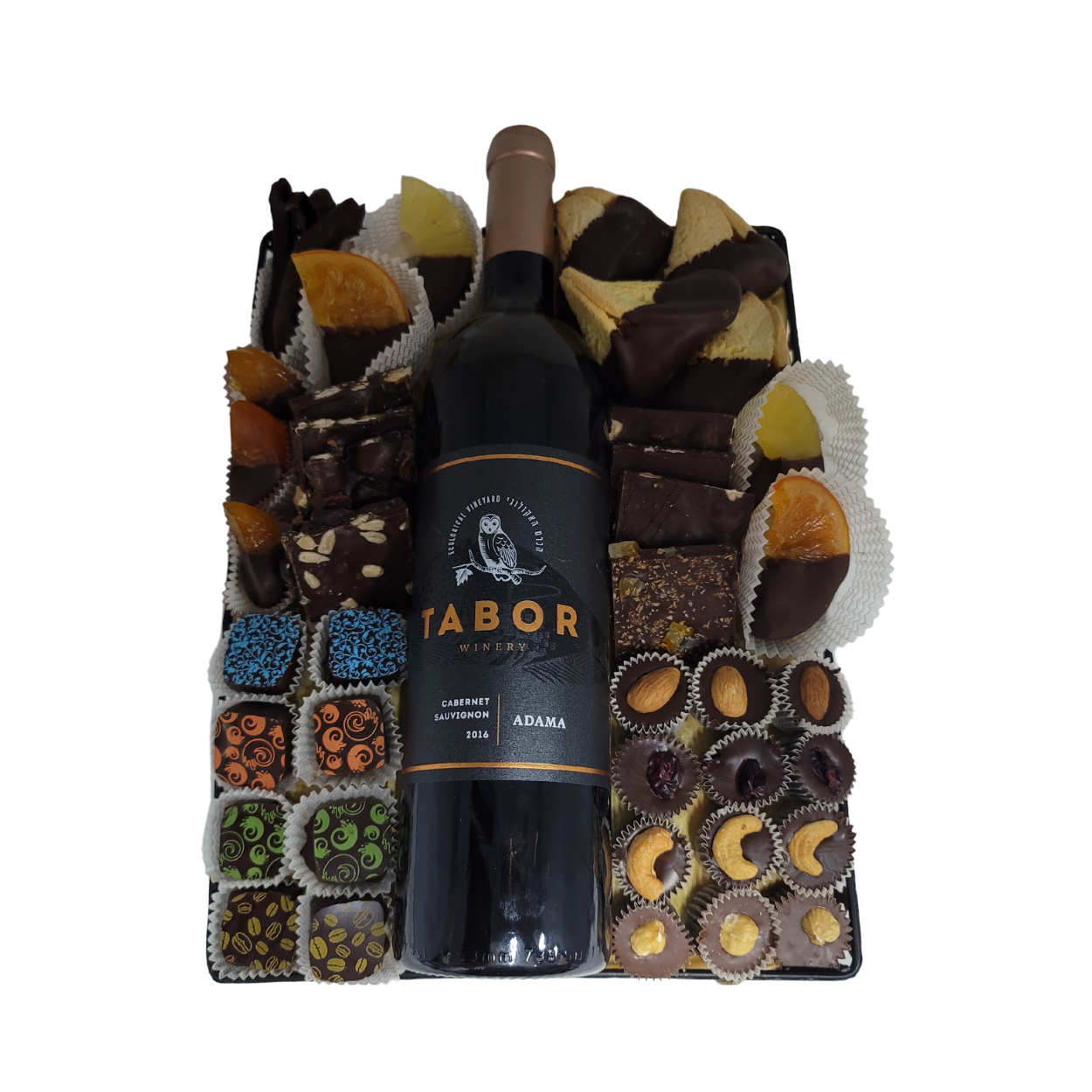 Fruit, Bark, Truffle and Humantash Mishloach Manot with Bottle of wine