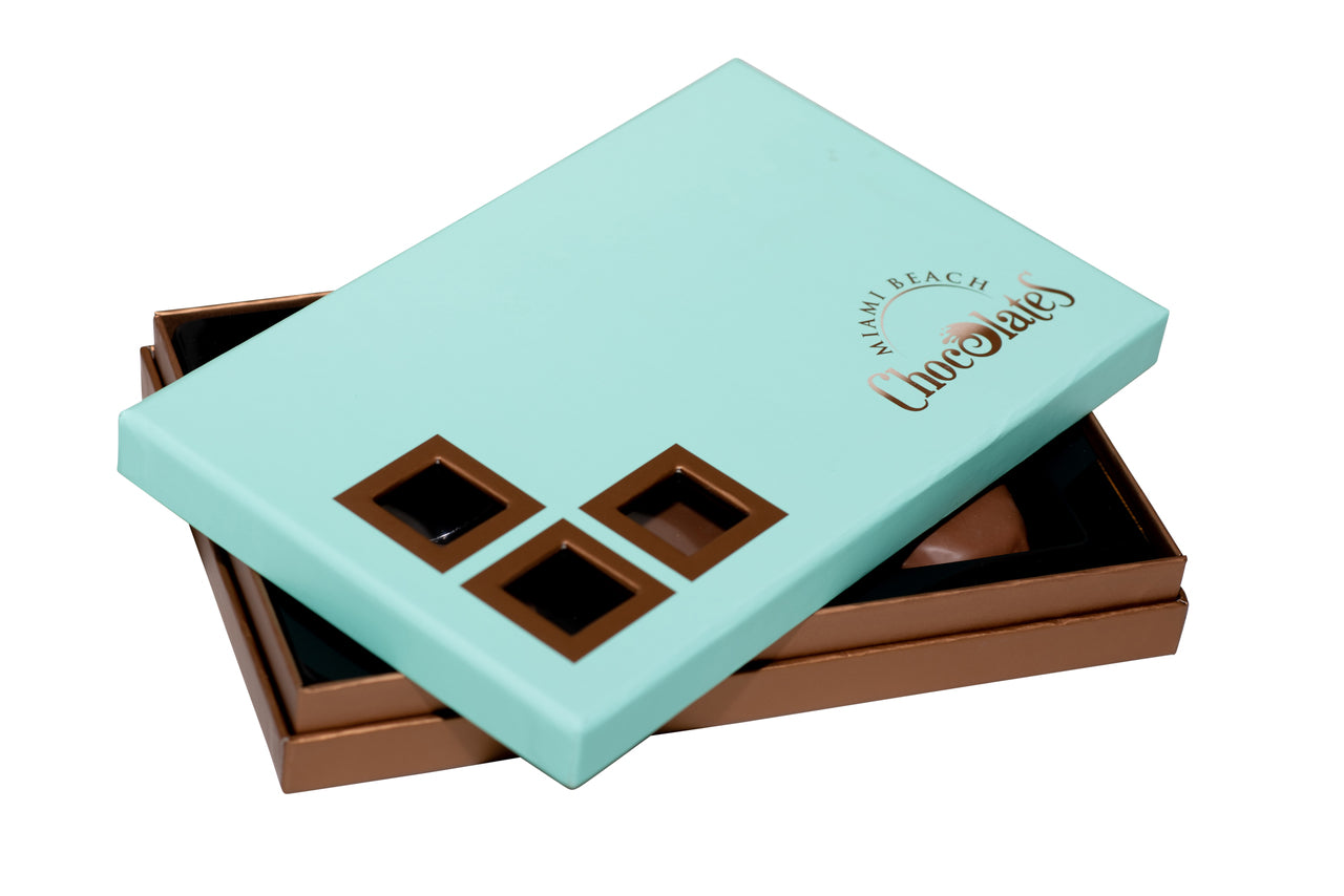 Miami Beach Chocolate Turtle Gift Box, 6pc