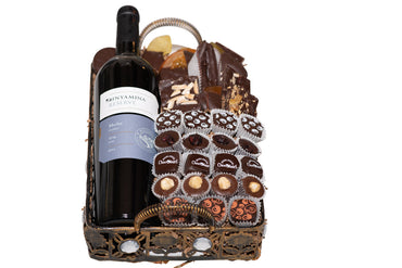 Rosh Hashanah Diamond Metal Basket with Wine