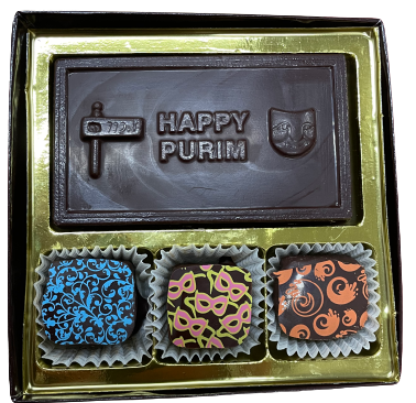 3 Piece Truffle box with Happy Purim Card