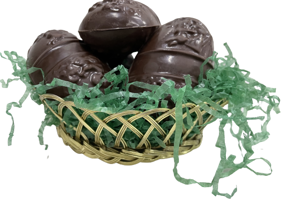 Classic Basket of decorated eggs (5 Eggs)