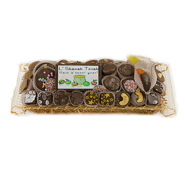 Rosh Hashanah Rectangle Gold Wire Chocolate Gift Basket
