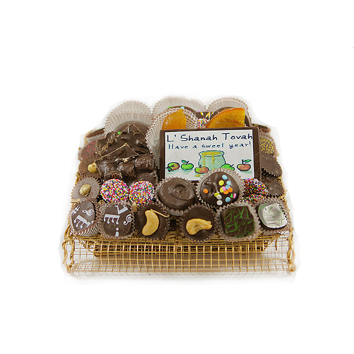 Rosh Hashanah Square Gold Wire Chocolate Gift Basket