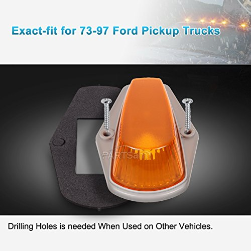 5pc Roof Cab Marker Light Smoke lens+6-5730-SMD 194 Amber LED Bulb For Chevy GMC
