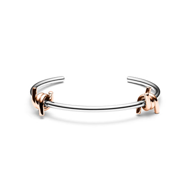 Double Barbed Cuff Silver + Rose Gold