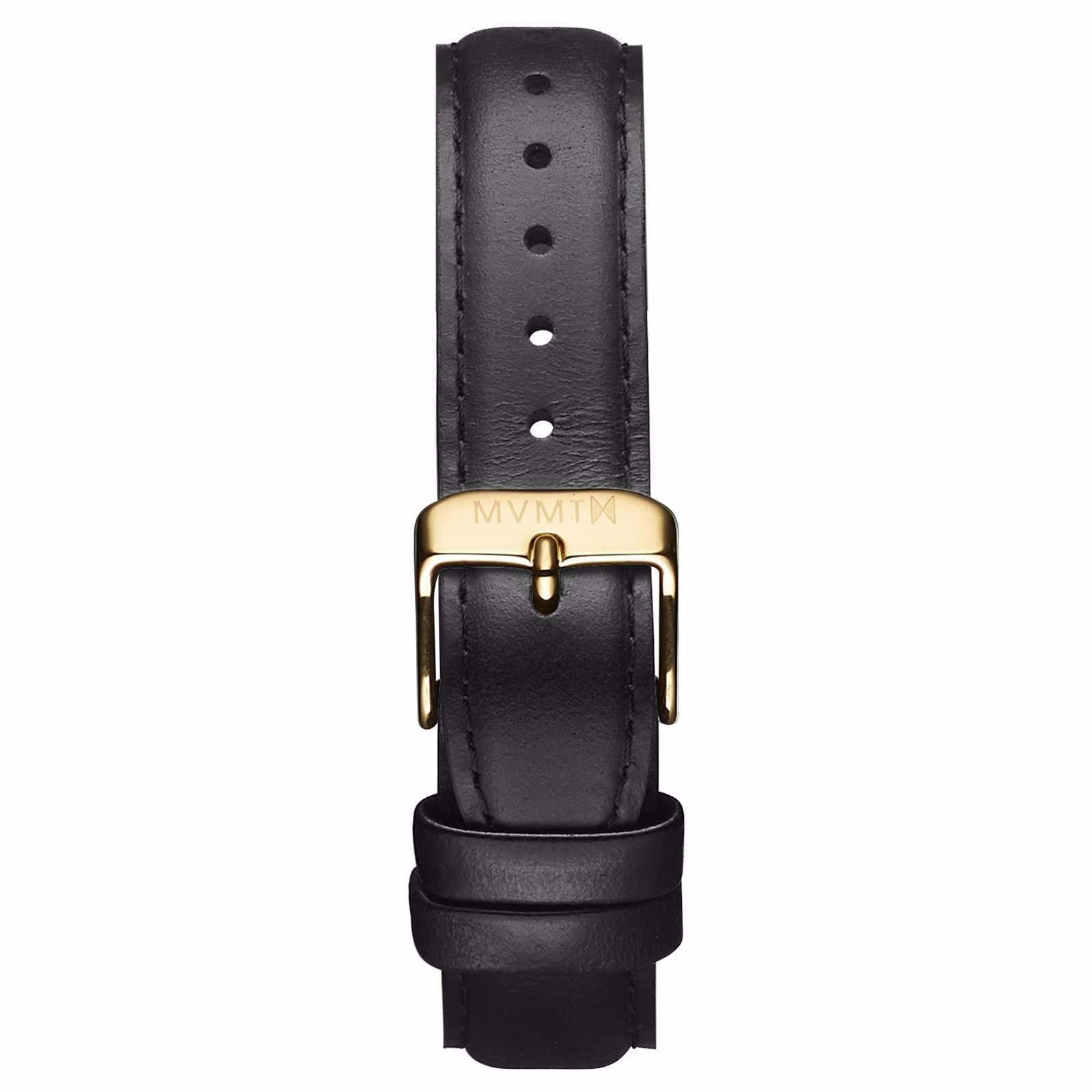 Womens - 18mm Black Leather - gold