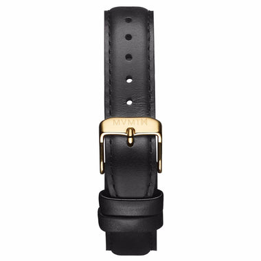 Womens - 18mm Black Leather gold