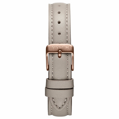 Nova - 16mm Taupe Leather rose gold