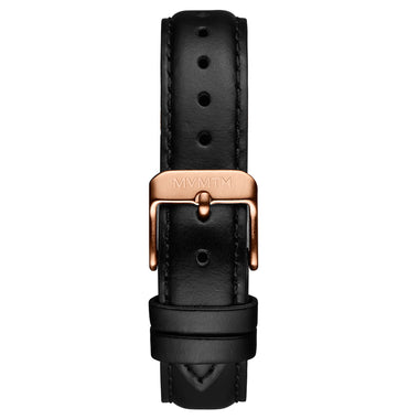 Signature Square - 16mm Black Leather Rose Gold