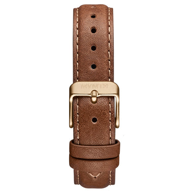 Signature Square - 16mm Brown Leather Gold