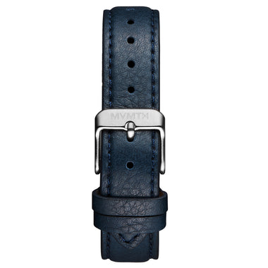 Signature Square - 16mm Navy Blue Leather Silver