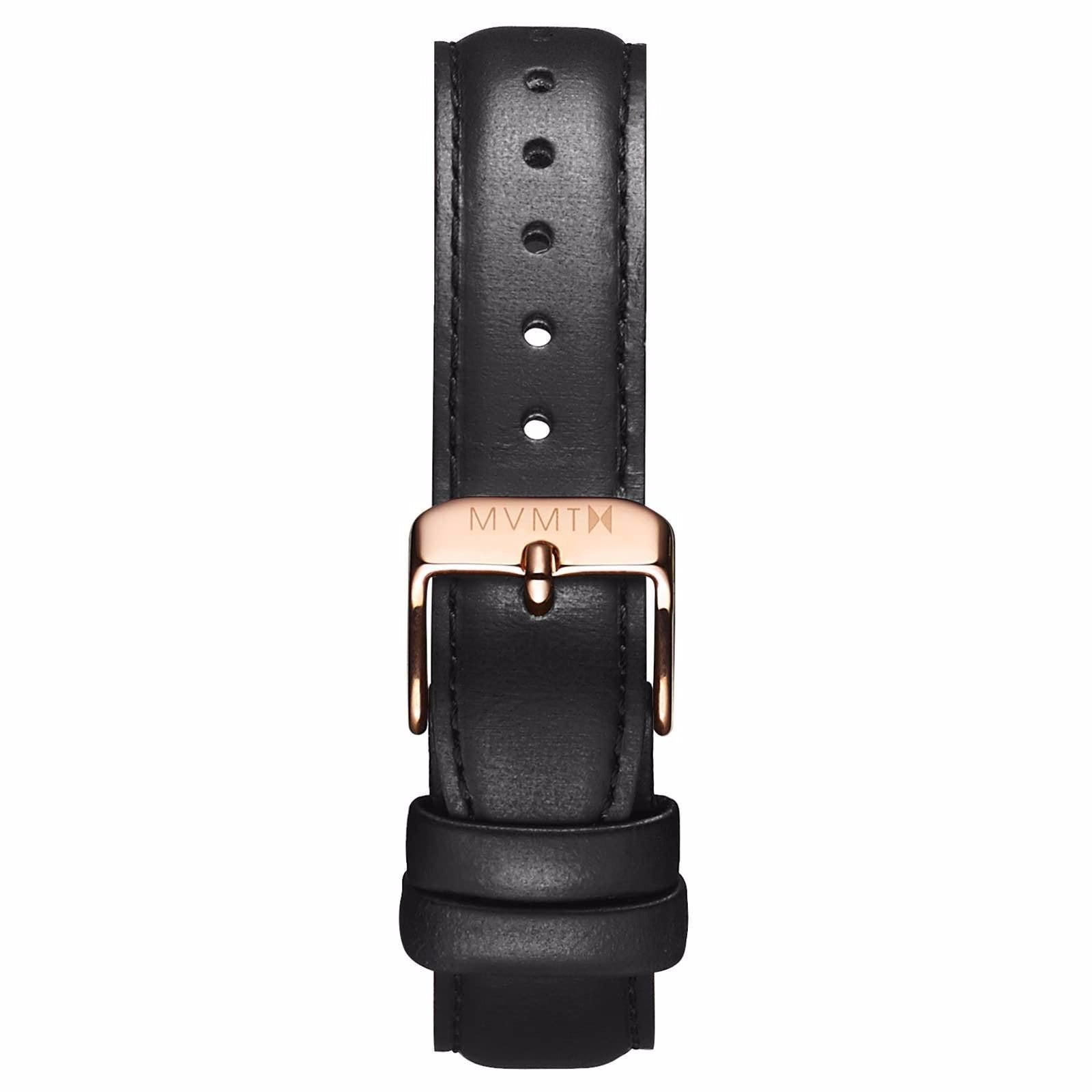 Womens - 18mm Black Leather - rose gold