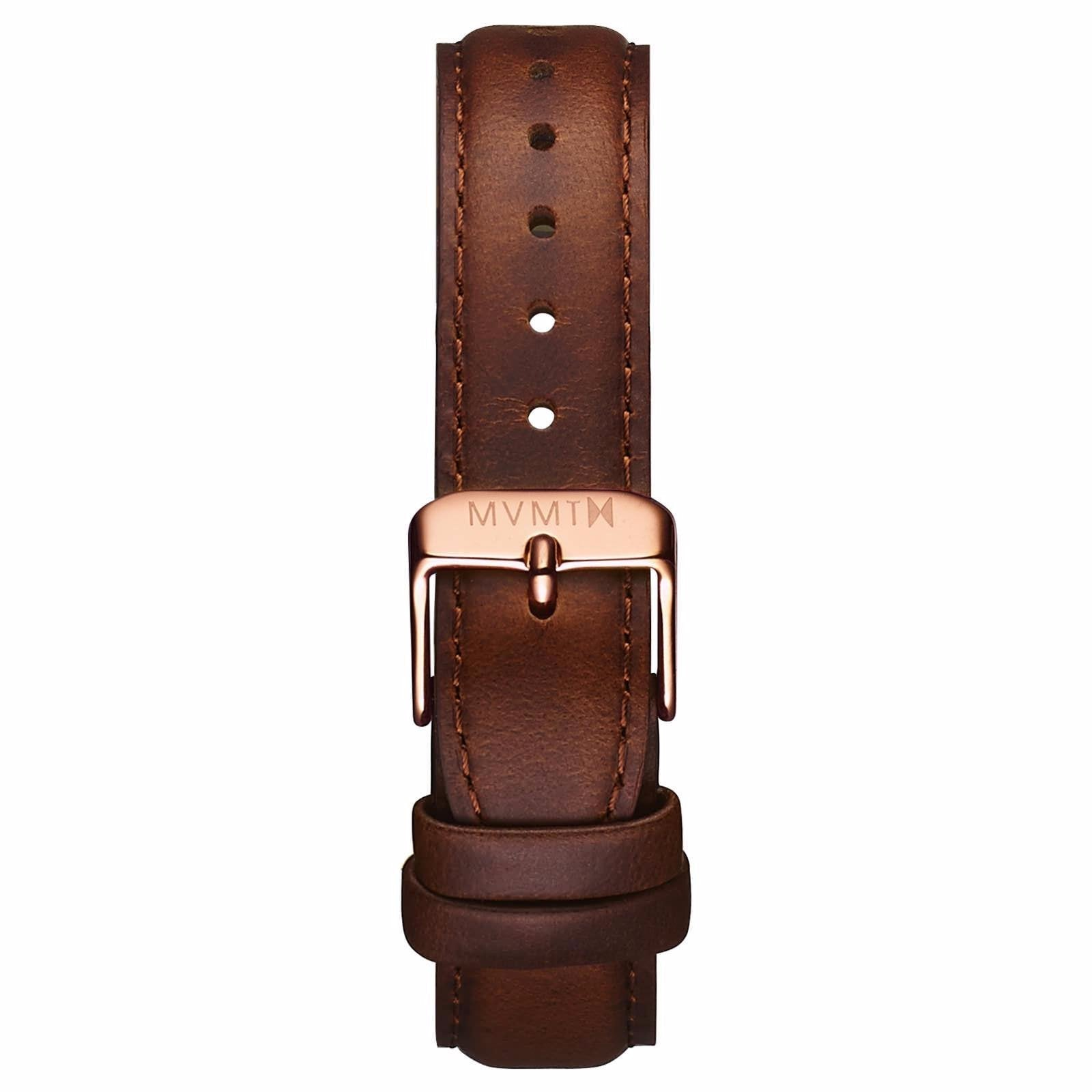Womens - 18mm Brown Leather - rose gold