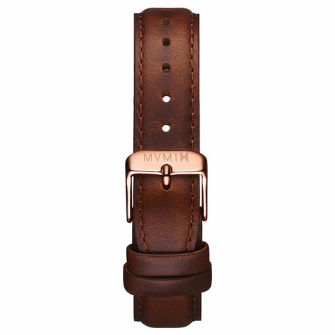 Womens - 18mm Brown Leather rose gold