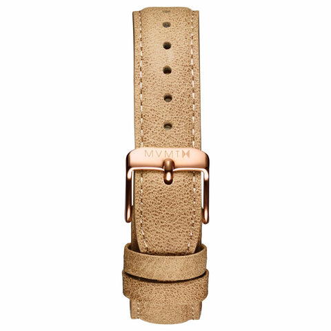 Womens - 18mm Beige Leather rose gold