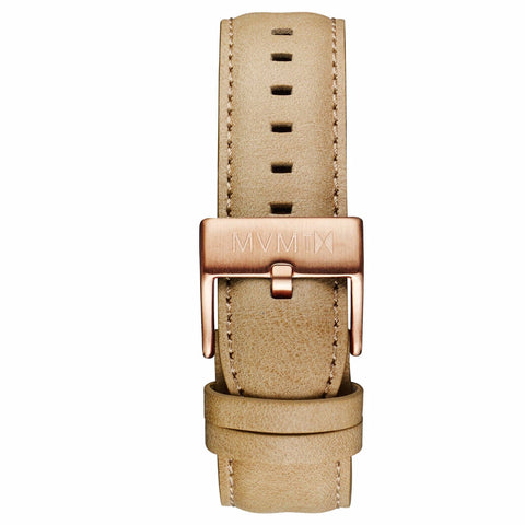 40 Series - 20mm Sandstone Leather rose gold