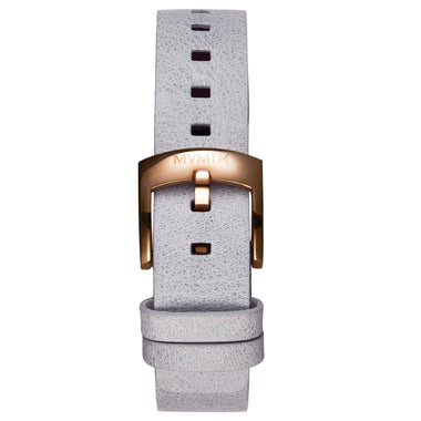 Bloom - 16mm Grey Leather rose gold