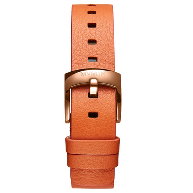 Bloom - 16mm Orange Leather rose gold