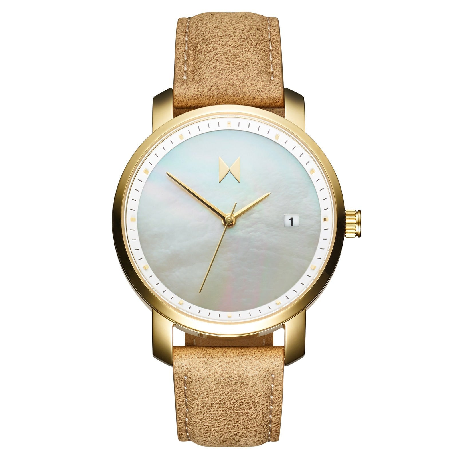 gold pearl leather mvmt watches