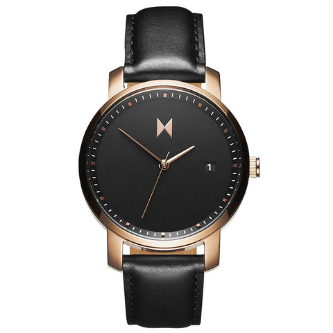 Rose Gold/Black Leather