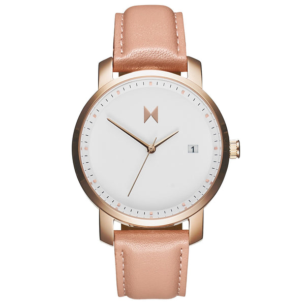 Rose gold peach leather mvmt for Watches for women