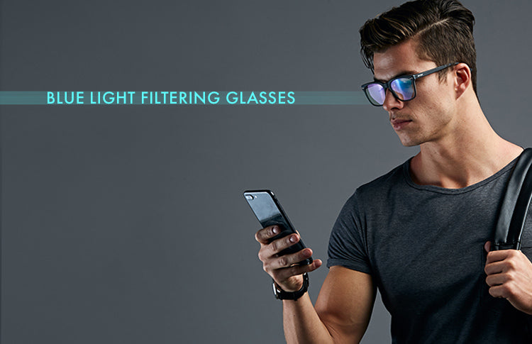 man wearing blue light filtering glasses