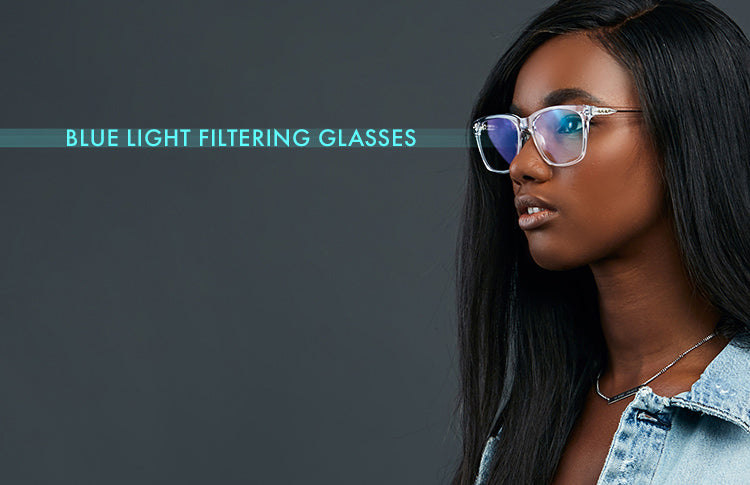 woman wearing blue light filtering glasses