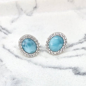 NATURAL LARIMAR OVAL STUD EARRINGS - SILVER