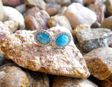 Load image into Gallery viewer, NATURAL LARIMAR OVAL STUD EARRINGS - SILVER