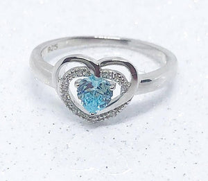 PRECIOUS BLUE HEART RING - SILVER